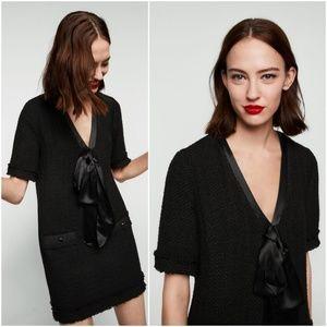 f41bba7a Zara Dresses | Last Nwt Xs Tweed Bow Mini Dress Preppy | Poshmark
